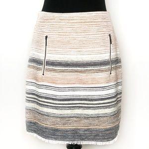 Ann Taylor LOFT Stripe Front Zipper Pockets Skirt